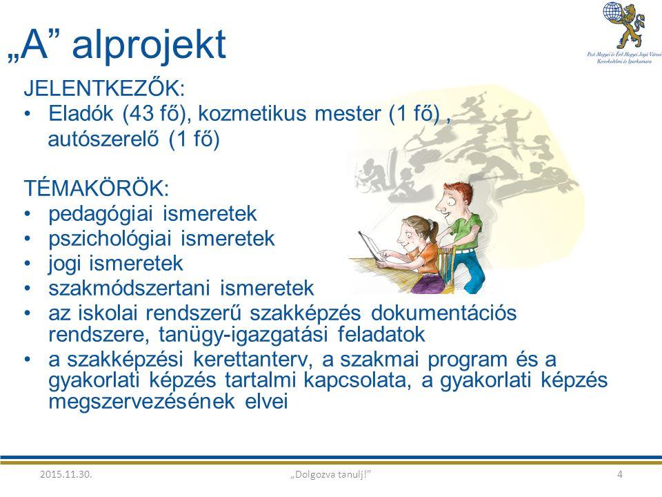 """""""A alprojekt JELENTKEZŐK: Eladók (43 fő), kozmetikus mester (1 fő), autószerelő (1 fő) TÉMAKÖRÖK: pedagógiai ismeretek pszichológiai ismeretek jogi ismeretek szakmódszertani ismeretek az iskolai rendszerű szakképzés dokumentációs rendszere, tanügy-igazgatási feladatok a szakképzési kerettanterv, a szakmai program és a gyakorlati képzés tartalmi kapcsolata, a gyakorlati képzés megszervezésének elvei 2015.11.30.""""Dolgozva tanulj! 4"""