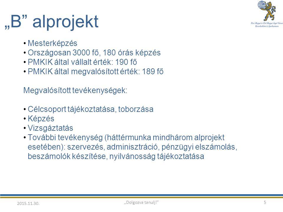 """""""B alprojekt Mesterképzés Országosan 3000 fő, 180 órás képzés PMKIK által vállalt érték: 190 fő PMKIK által megvalósított érték: 189 fő Megvalósított tevékenységek: Célcsoport tájékoztatása, toborzása Képzés Vizsgáztatás További tevékenység (háttérmunka mindhárom alprojekt esetében): szervezés, adminisztráció, pénzügyi elszámolás, beszámolók készítése, nyilvánosság tájékoztatása 5 2015.11.30."""