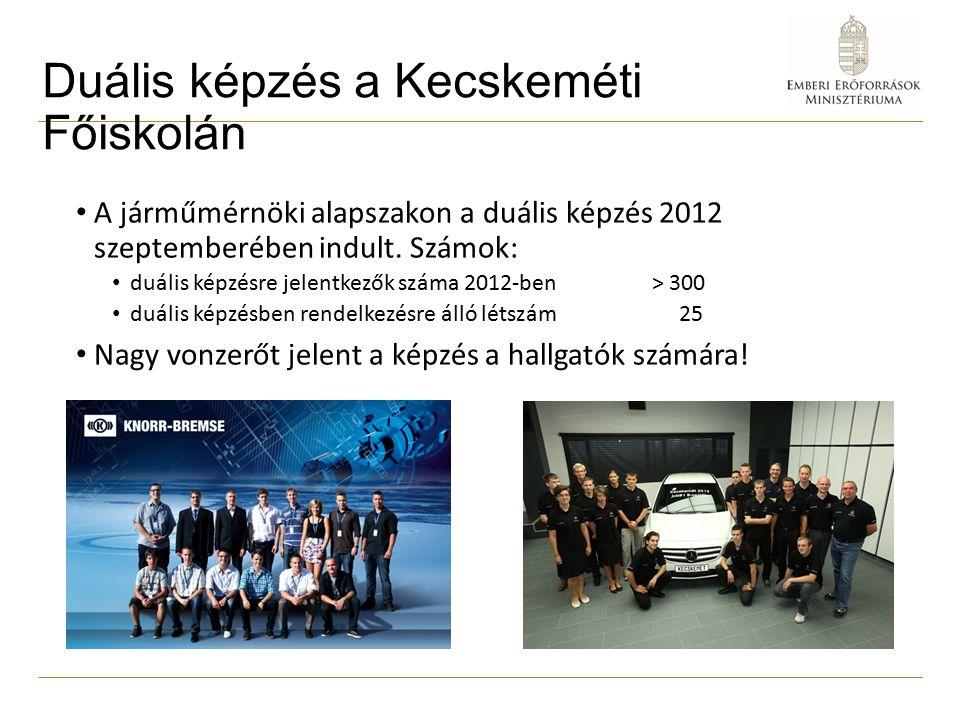 Duális képzés a Kecskeméti Főiskolán A járműmérnöki alapszakon a duális képzés 2012 szeptemberében indult.