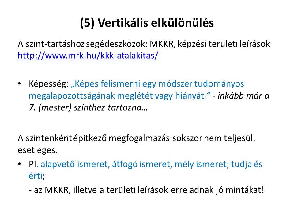 """(5) Vertikális elkülönülés A szint-tartáshoz segédeszközök: MKKR, képzési területi leírások http://www.mrk.hu/kkk-atalakitas/ http://www.mrk.hu/kkk-atalakitas/ Képesség: """"Képes felismerni egy módszer tudományos megalapozottságának meglétét vagy hiányát. - inkább már a 7."""