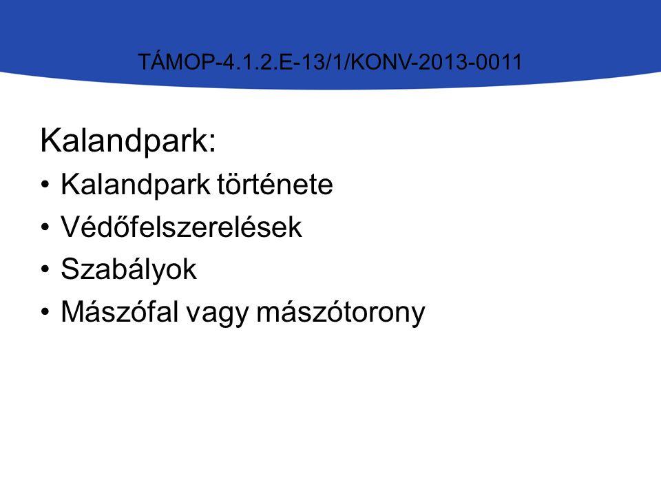 TÁMOP-4.1.2.E-13/1/KONV-2013-0011 Kalandpark: Kalandpark története Védőfelszerelések Szabályok Mászófal vagy mászótorony