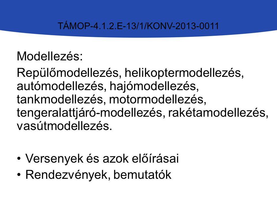 TÁMOP-4.1.2.E-13/1/KONV-2013-0011 Modellezés: Repülőmodellezés, helikoptermodellezés, autómodellezés, hajómodellezés, tankmodellezés, motormodellezés, tengeralattjáró-modellezés, rakétamodellezés, vasútmodellezés.