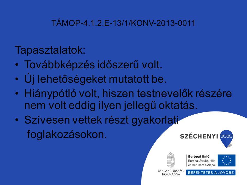 TÁMOP-4.1.2.E-13/1/KONV-2013-0011 Tapasztalatok: Továbbképzés időszerű volt.