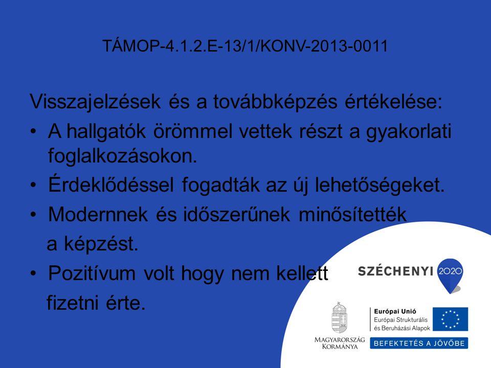 TÁMOP-4.1.2.E-13/1/KONV-2013-0011 Visszajelzések és a továbbképzés értékelése: A hallgatók örömmel vettek részt a gyakorlati foglalkozásokon.