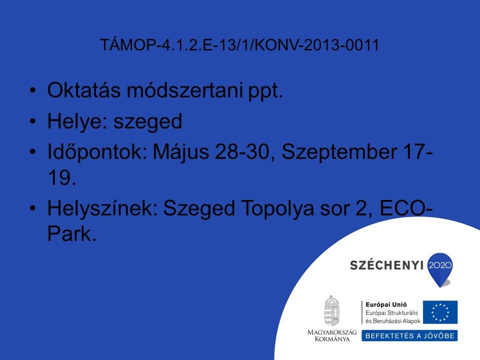 TÁMOP-4.1.2.E-13/1/KONV-2013-0011 Oktatás módszertani ppt.