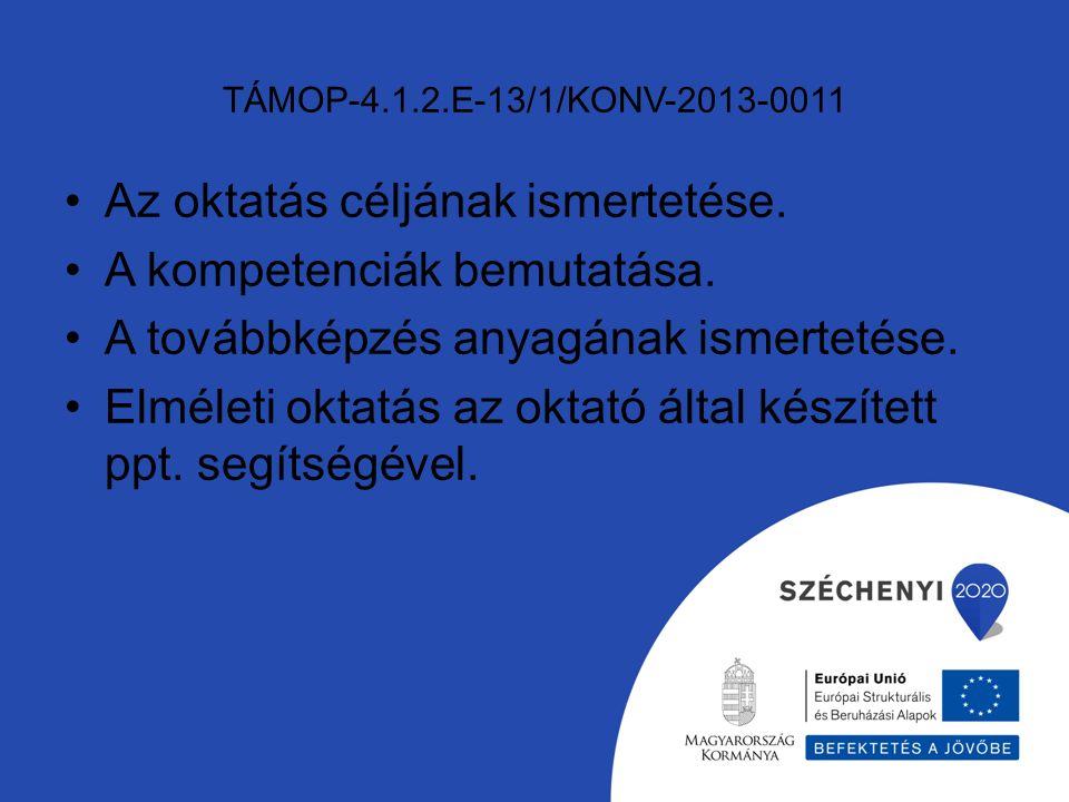 TÁMOP-4.1.2.E-13/1/KONV-2013-0011 Az oktatás céljának ismertetése.