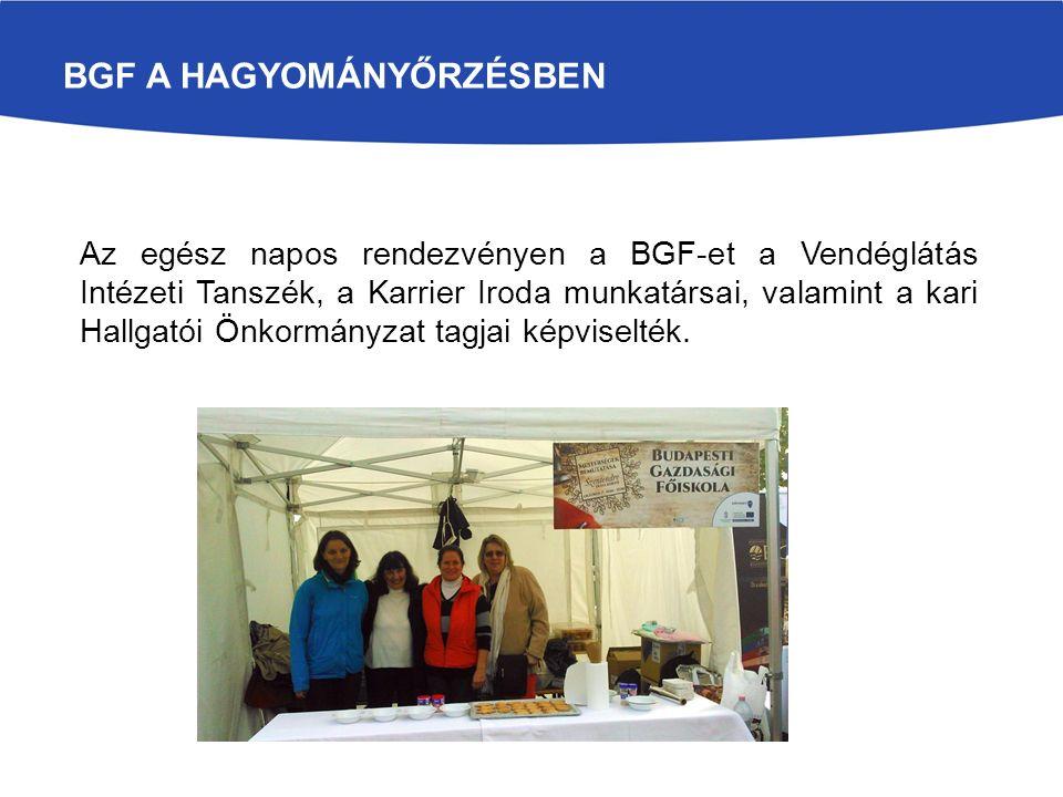 BGFBGF Az egész napos rendezvényen a BGF-et a Vendéglátás Intézeti Tanszék, a Karrier Iroda munkatársai, valamint a kari Hallgatói Önkormányzat tagjai képviselték.