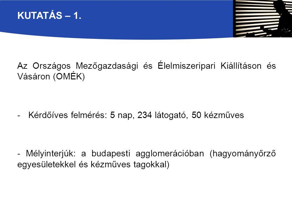 Az Országos Mezőgazdasági és Élelmiszeripari Kiállításon és Vásáron (OMÉK) -Kérdőíves felmérés: 5 nap, 234 látogató, 50 kézműves - Mélyinterjúk: a budapesti agglomerációban (hagyományőrző egyesületekkel és kézműves tagokkal) KUTATÁS – 1.
