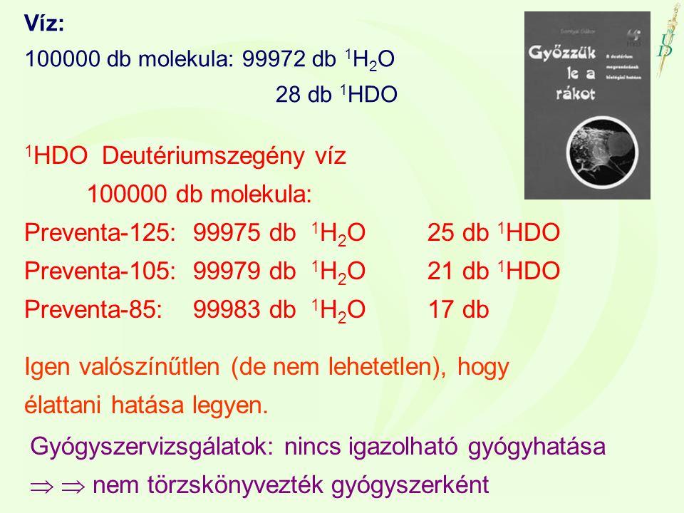 Víz: 100000 db molekula: 99972 db 1 H 2 O 28 db 1 HDO 1 HDO Deutériumszegény víz 100000 db molekula: Preventa-125: 99975 db 1 H 2 O 25 db 1 HDO Preven