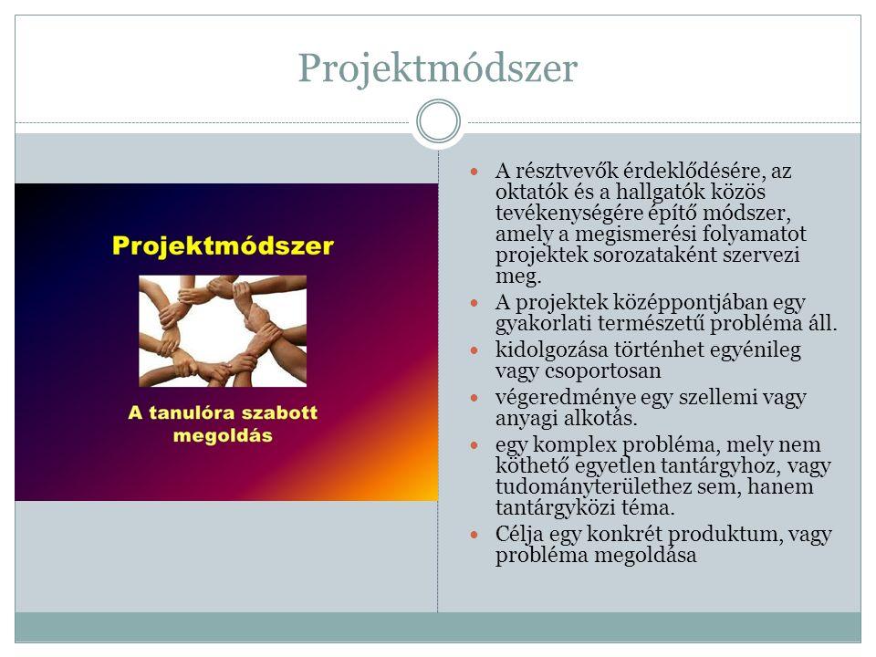 Projektmódszer A résztvevők érdeklődésére, az oktatók és a hallgatók közös tevékenységére építő módszer, amely a megismerési folyamatot projektek sorozataként szervezi meg.