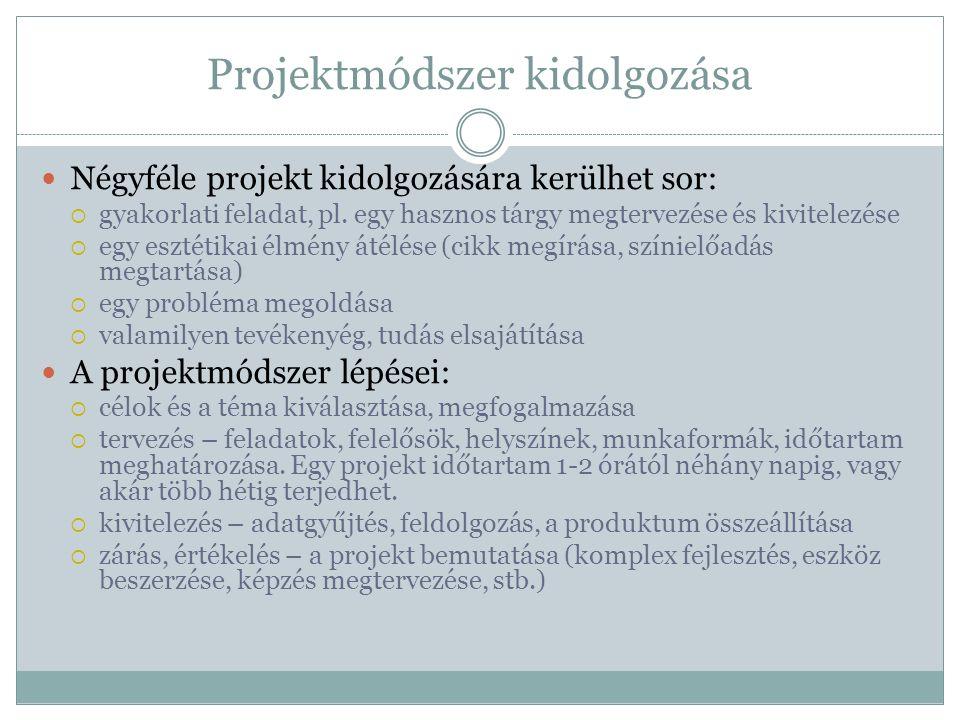 Projektmódszer kidolgozása Négyféle projekt kidolgozására kerülhet sor:  gyakorlati feladat, pl. egy hasznos tárgy megtervezése és kivitelezése  egy