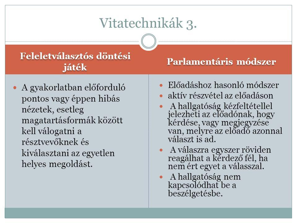 Feleletválasztós döntési játék Parlamentáris módszer A gyakorlatban előforduló pontos vagy éppen hibás nézetek, esetleg magatartásformák között kell v