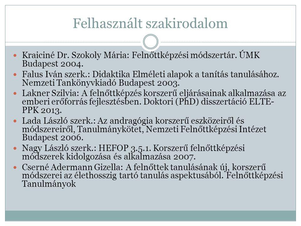 Felhasznált szakirodalom Kraiciné Dr. Szokoly Mária: Felnőttképzési módszertár. ÚMK Budapest 2004. Falus Iván szerk.: Didaktika Elméleti alapok a taní