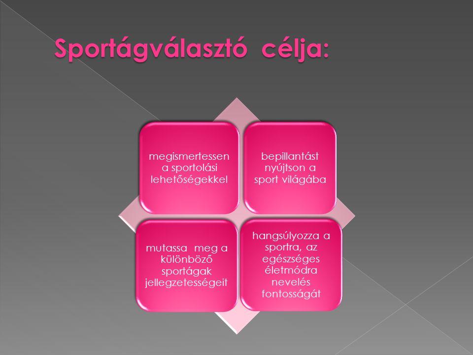 megismertessen a sportolási lehetőségekkel bepillantást nyújtson a sport világába mutassa meg a különböző sportágak jellegzetességeit hangsúlyozza a sportra, az egészséges életmódra nevelés fontosságát