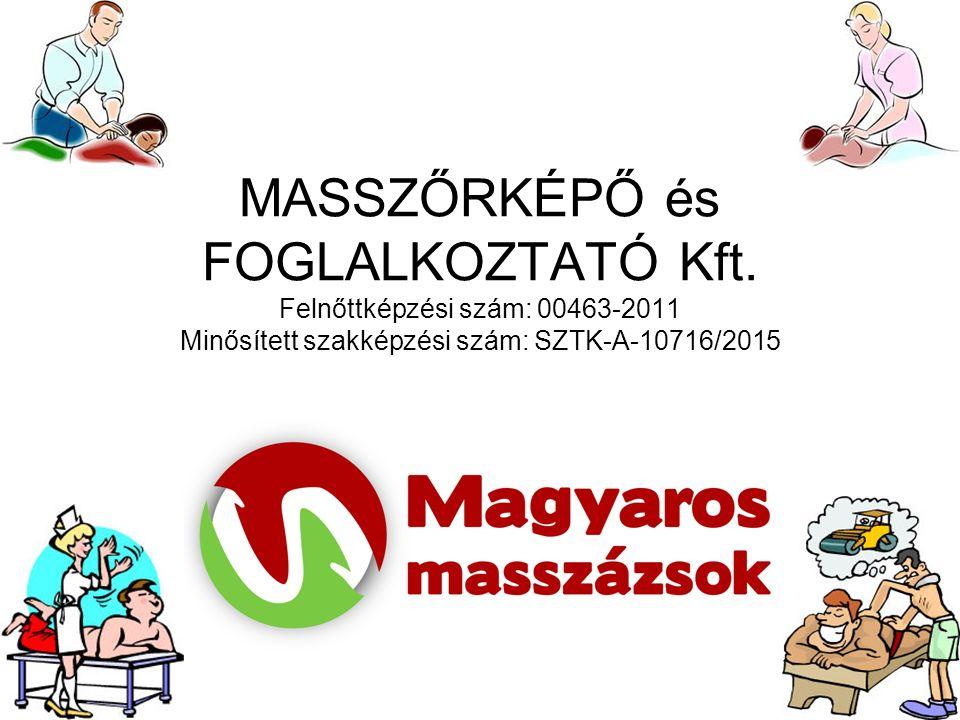 MASSZŐRKÉPŐ és FOGLALKOZTATÓ Kft. Felnőttképzési szám: 00463-2011 Minősített szakképzési szám: SZTK-A-10716/2015