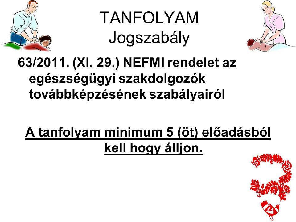 TANFOLYAM Jogszabály 63/2011. (XI. 29.) NEFMI rendelet az egészségügyi szakdolgozók továbbképzésének szabályairól A tanfolyam minimum 5 (öt) előadásbó