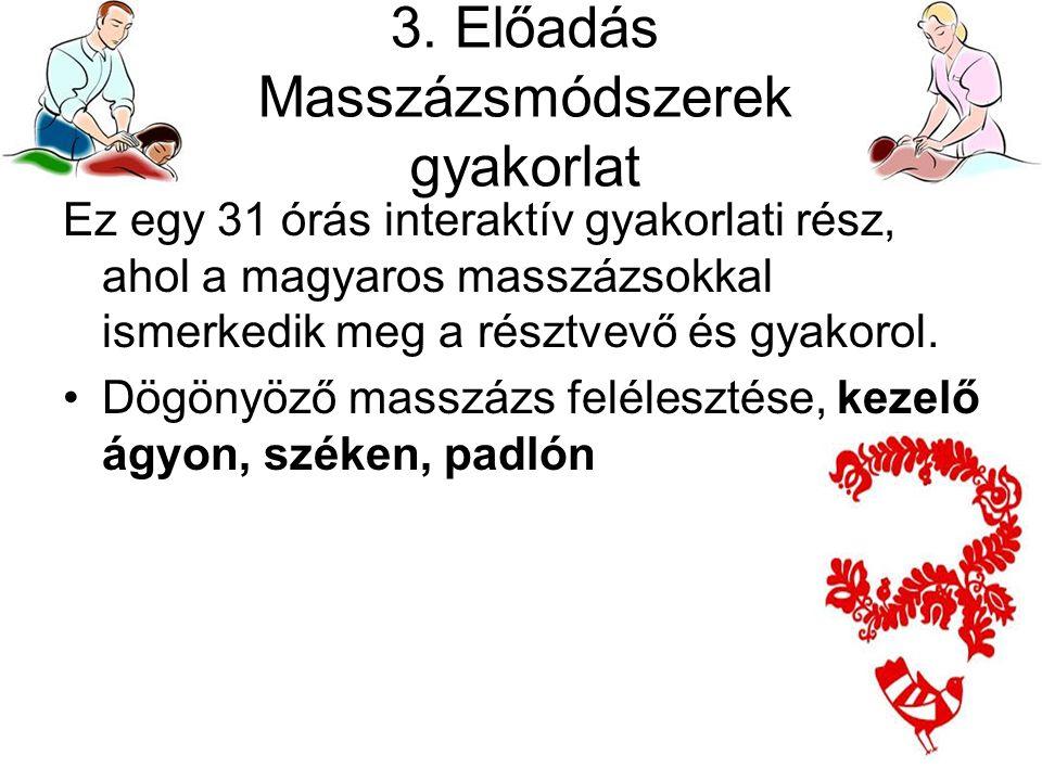 3. Előadás Masszázsmódszerek gyakorlat Ez egy 31 órás interaktív gyakorlati rész, ahol a magyaros masszázsokkal ismerkedik meg a résztvevő és gyakorol