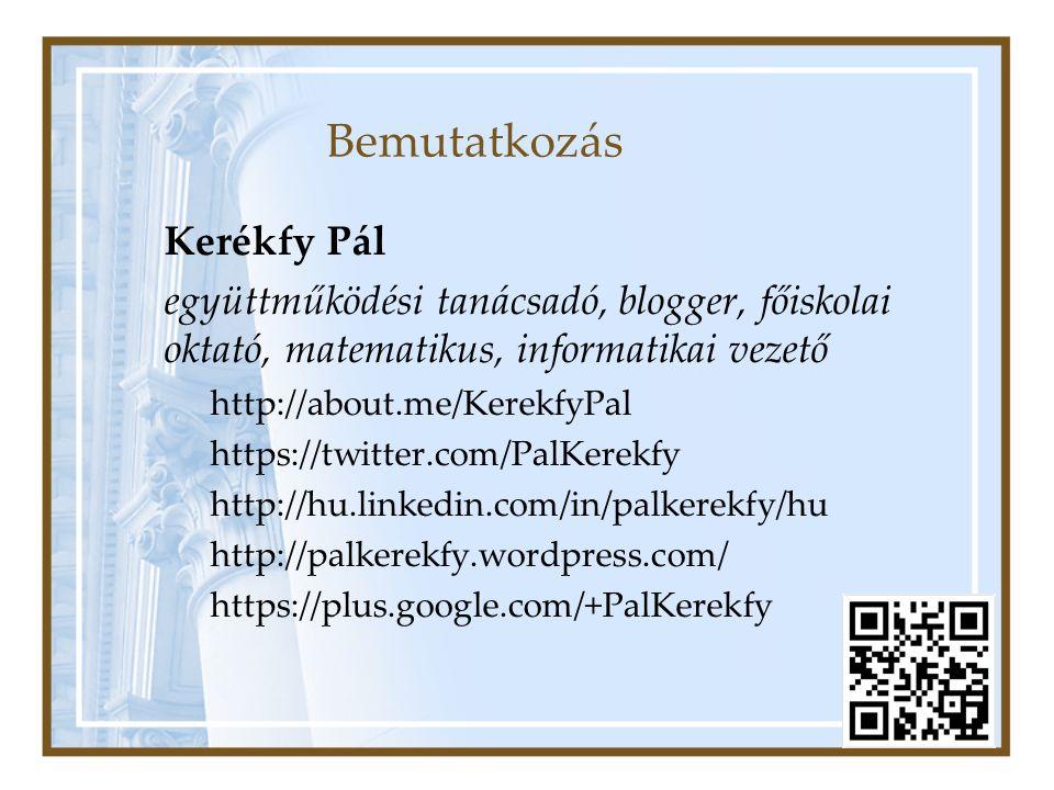 Bemutatkozás Kerékfy Pál együttműködési tanácsadó, blogger, főiskolai oktató, matematikus, informatikai vezető http://about.me/KerekfyPal https://twitter.com/PalKerekfy http://hu.linkedin.com/in/palkerekfy/hu http://palkerekfy.wordpress.com/ https://plus.google.com/+PalKerekfy