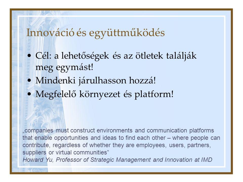 """Innováció és együttműködés Cél: a lehetőségek és az ötletek találják meg egymást! Mindenki járulhasson hozzá! Megfelelő környezet és platform! """"compan"""