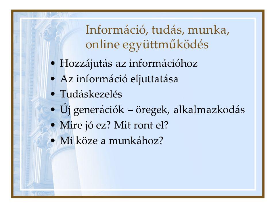 Információ, tudás, munka, online együttműködés Hozzájutás az információhoz Az információ eljuttatása Tudáskezelés Új generációk – öregek, alkalmazkodás Mire jó ez.