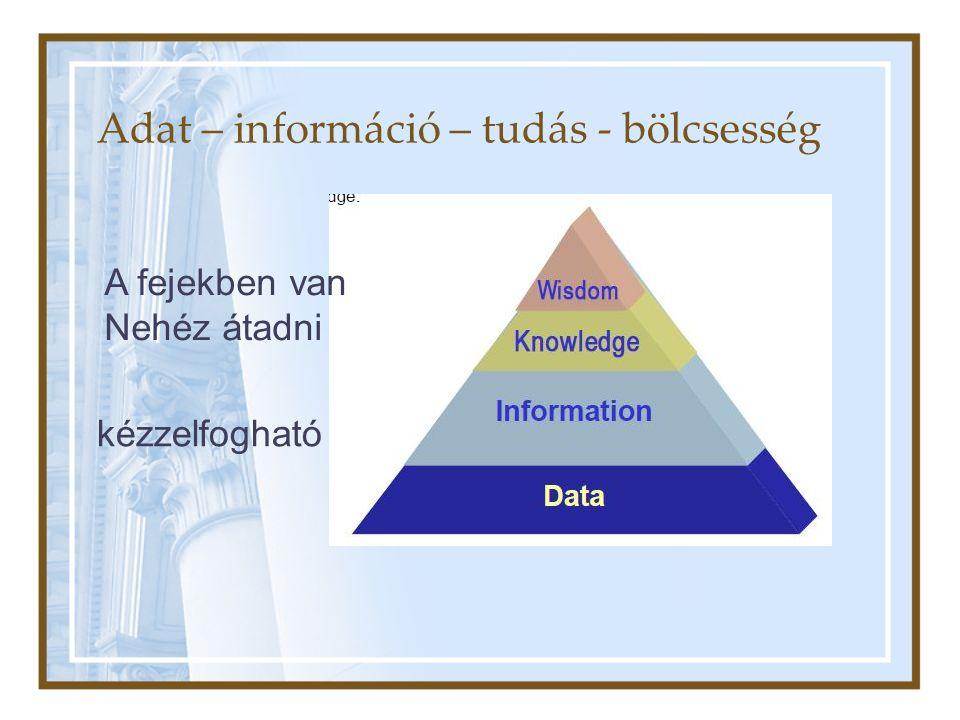 Adat – információ – tudás - bölcsesség kézzelfogható A fejekben van Nehéz átadni