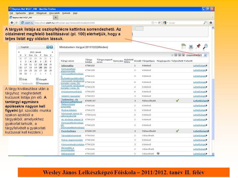 Wesley János Lelkészképző Főiskola – 2011/2012. tanév II. félév A tárgyak listája az oszlopfejlécre kattintva sorrendezhető. Az oldalméret megfelelő b