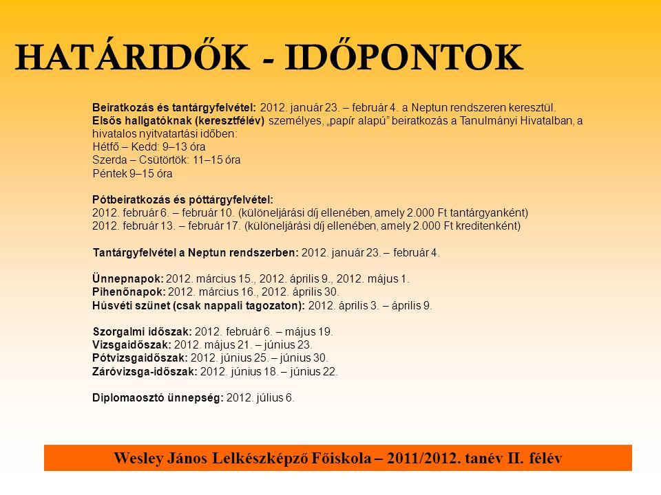 Beiratkozás és tantárgyfelvétel: 2012. január 23.