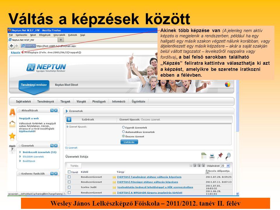 Wesley János Lelkészképző Főiskola – 2011/2012. tanév II. félév Akinek több képzése van (A jelenleg nem aktív képzés is megjelenik a rendszerben, péld