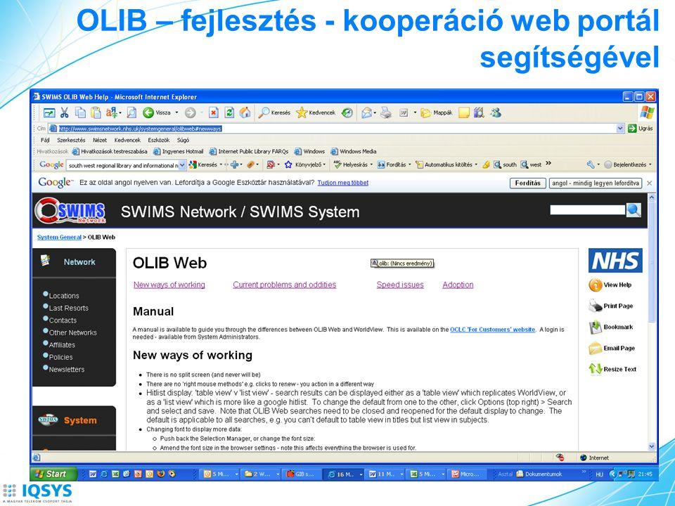 OLIB – fejlesztés - kooperáció web portál segítségével