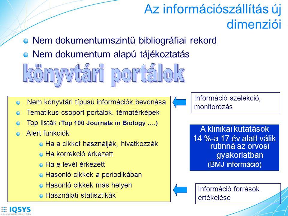 Az információszállítás új dimenziói Nem dokumentumszintű bibliográfiai rekord Nem dokumentum alapú tájékoztatás Nem könyvtári típusú információk bevon