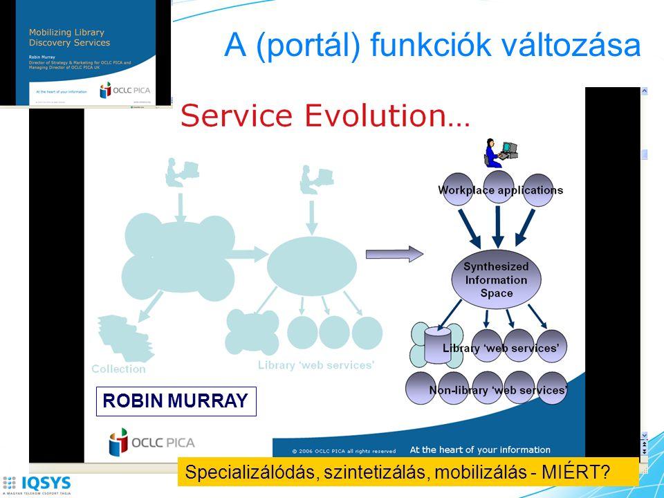 A (portál) funkciók változása ROBIN MURRAY Specializálódás, szintetizálás, mobilizálás - MIÉRT?
