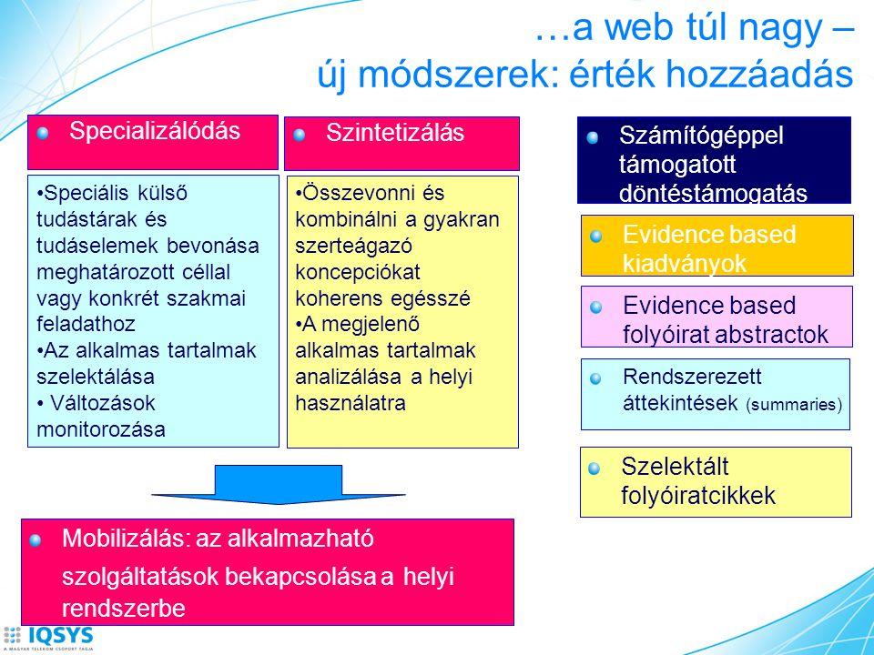 …a web túl nagy – új módszerek: érték hozzáadás Specializálódás Szintetizálás Speciális külső tudástárak és tudáselemek bevonása meghatározott céllal vagy konkrét szakmai feladathoz Az alkalmas tartalmak szelektálása Változások monitorozása Összevonni és kombinálni a gyakran szerteágazó koncepciókat koherens egésszé A megjelenő alkalmas tartalmak analizálása a helyi használatra Mobilizálás: az alkalmazható szolgáltatások bekapcsolása a helyi rendszerbe Szelektált folyóiratcikkek Rendszerezett áttekintések (summaries) Evidence based folyóirat abstractok Evidence based kiadványok Számítógéppel támogatott döntéstámogatás