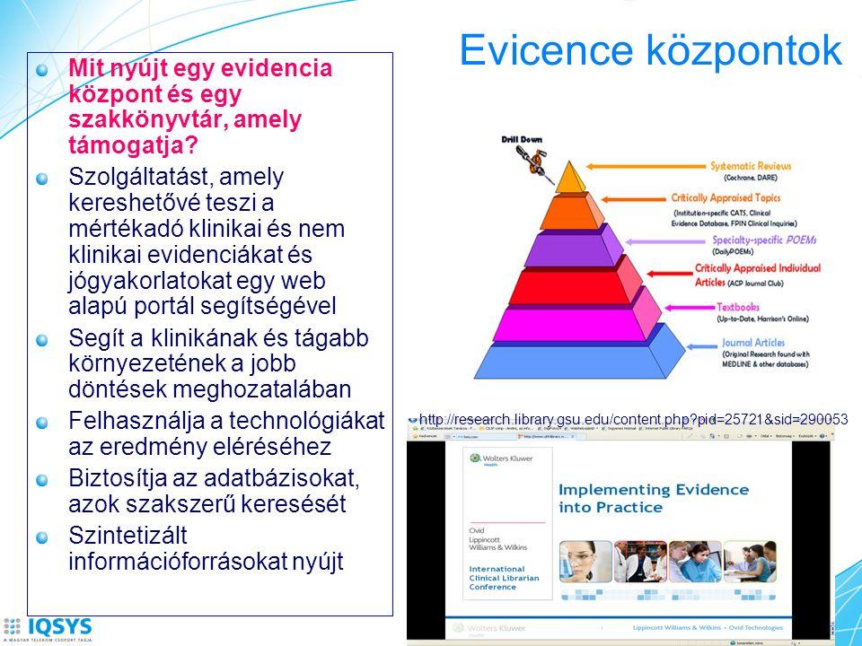 Evicence központok Mit nyújt egy evidencia központ és egy szakkönyvtár, amely támogatja? Szolgáltatást, amely kereshetővé teszi a mértékadó klinikai é