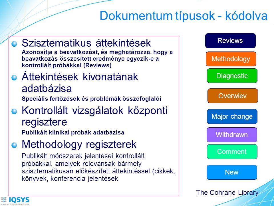 Dokumentum típusok - kódolva Szisztematikus áttekintések Azonosítja a beavatkozást, és meghatározza, hogy a beavatkozás összesített eredménye egyezik-e a kontrollált próbákkal (Reviews) Áttekintések kivonatának adatbázisa Speciális fertőzések és problémák összefoglalói Kontrollált vizsgálatok központi regisztere Publikált klinikai próbák adatbázisa Methodology regiszterek Publikált módszerek jelentései kontrollált próbákkal, amelyek relevánsak bármely szisztematikusan előkészített áttekintéssel (cikkek, könyvek, konferencia jelentések Reviews Methodology Diagnostic Overwiev Withdrawn Comment Major change New The Cohrane Library