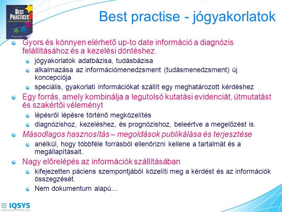 Best practise - jógyakorlatok Gyors és könnyen elérhető up-to date információ a diagnózis felállításához és a kezelési döntéshez.