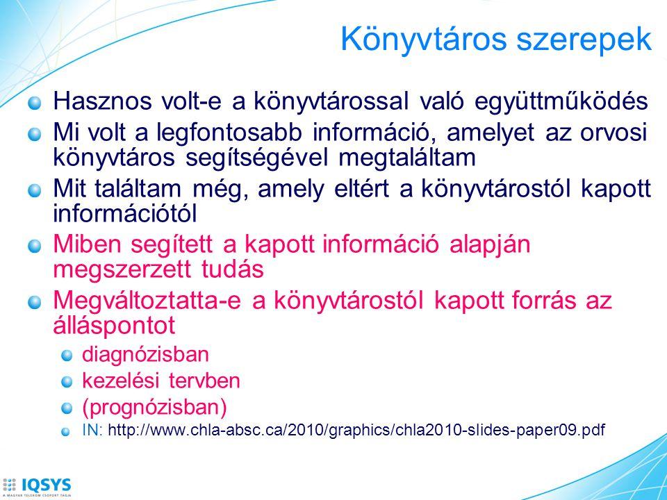 Könyvtáros szerepek Hasznos volt-e a könyvtárossal való együttműködés Mi volt a legfontosabb információ, amelyet az orvosi könyvtáros segítségével megtaláltam Mit találtam még, amely eltért a könyvtárostól kapott információtól Miben segített a kapott információ alapján megszerzett tudás Megváltoztatta-e a könyvtárostól kapott forrás az álláspontot diagnózisban kezelési tervben (prognózisban) IN: http://www.chla-absc.ca/2010/graphics/chla2010-slides-paper09.pdf