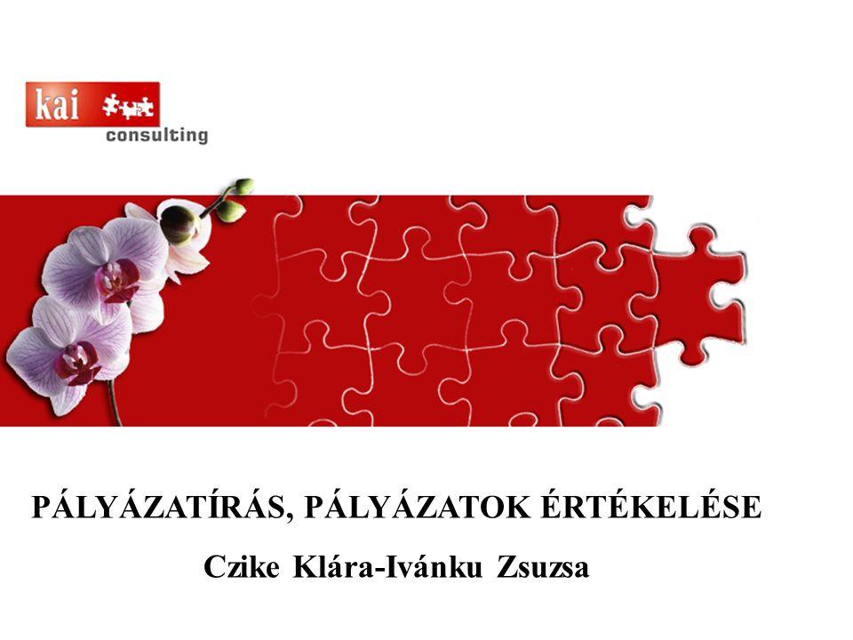 PÁLYÁZATÍRÁS, PÁLYÁZATOK ÉRTÉKELÉSE Czike Klára-Ivánku Zsuzsa