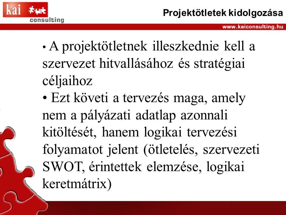 Projektötletek kidolgozása A projektötletnek illeszkednie kell a szervezet hitvallásához és stratégiai céljaihoz Ezt követi a tervezés maga, amely nem a pályázati adatlap azonnali kitöltését, hanem logikai tervezési folyamatot jelent (ötletelés, szervezeti SWOT, érintettek elemzése, logikai keretmátrix)