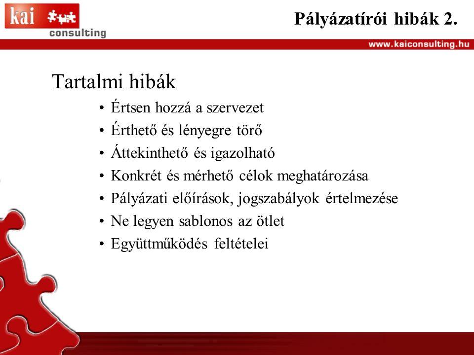 Pályázatírói hibák 2.