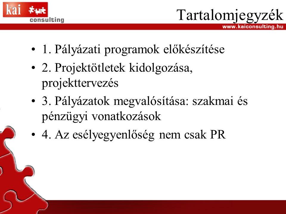 Tartalomjegyzék 1. Pályázati programok előkészítése 2.