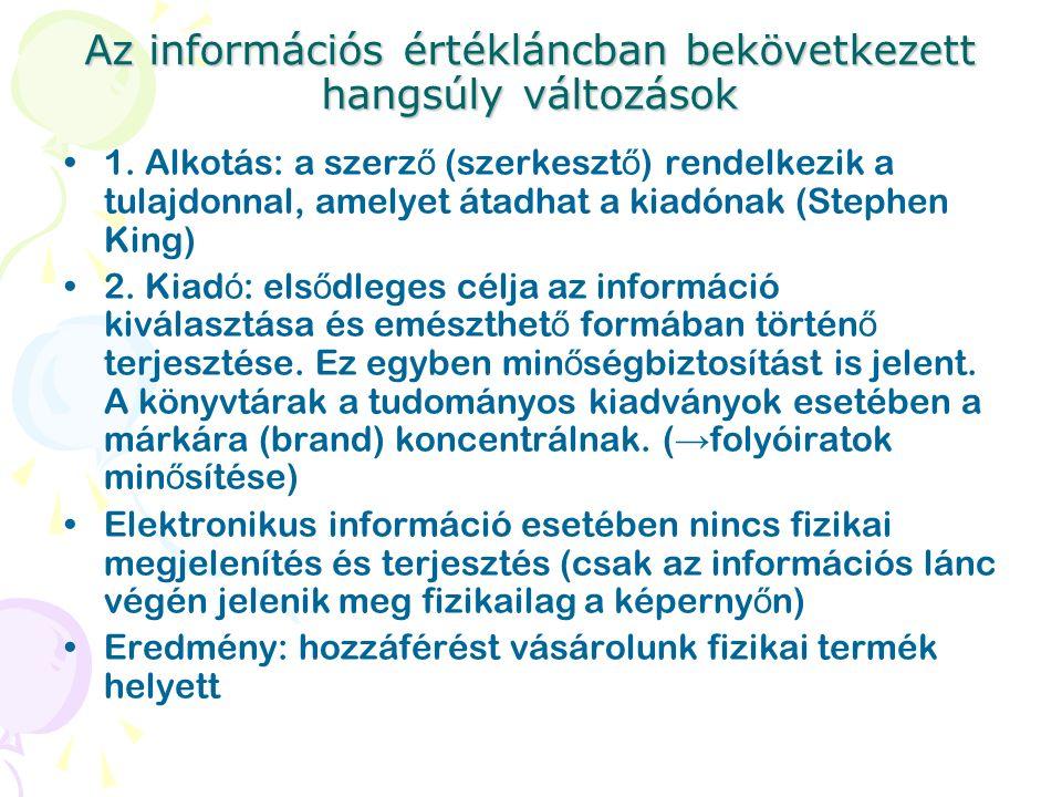 Az információs értékláncban bekövetkezett hangsúly változások 1. Alkotás: a szerz ő (szerkeszt ő ) rendelkezik a tulajdonnal, amelyet átadhat a kiadón