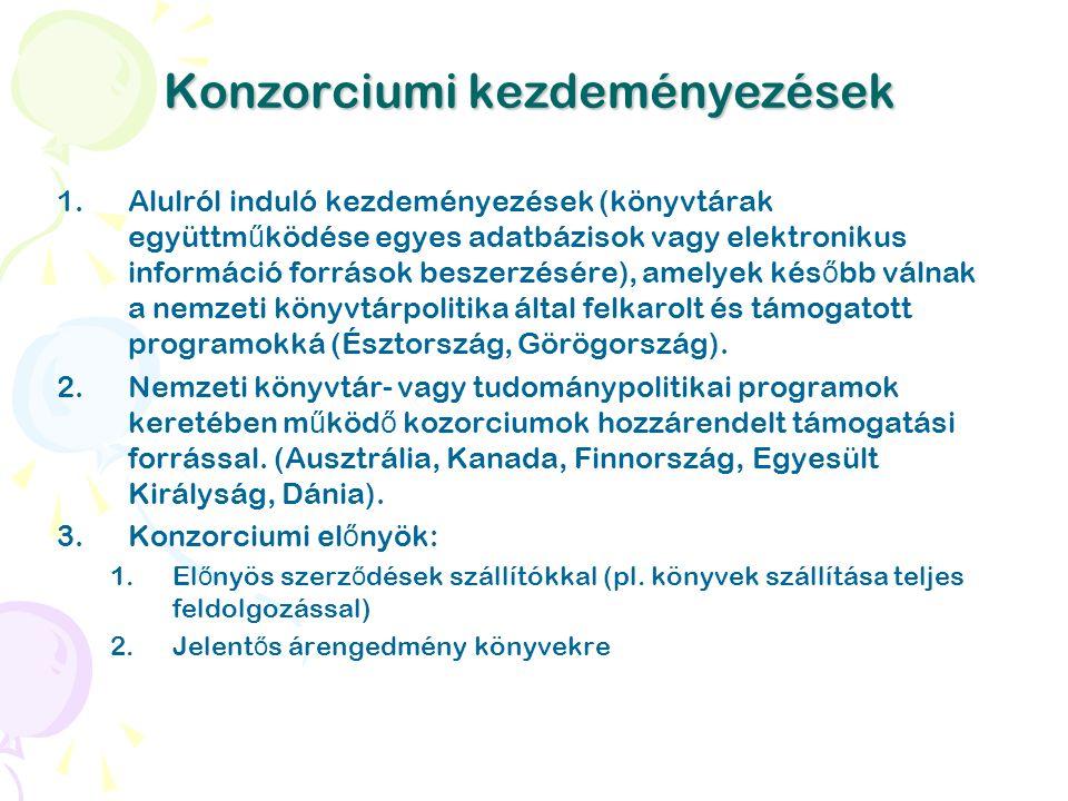 Konzorciumi kezdeményezések 1.Alulról induló kezdeményezések (könyvtárak együttm ű ködése egyes adatbázisok vagy elektronikus információ források beszerzésére), amelyek kés ő bb válnak a nemzeti könyvtárpolitika által felkarolt és támogatott programokká (Észtország, Görögország).