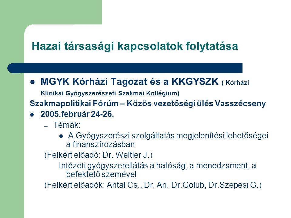 Hazai társasági kapcsolatok folytatása MGYK Kórházi Tagozat és a KKGYSZK ( Kórházi Klinikai Gyógyszerészeti Szakmai Kollégium) Szakmapolitikai Fórúm – Közös vezetőségi ülés Vasszécseny 2005.február 24-26.