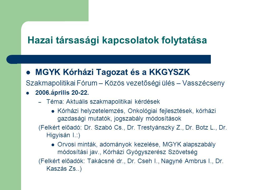 Hazai társasági kapcsolatok folytatása MGYK Kórházi Tagozat és a KKGYSZK Szakmapolitikai Fórum – Közös vezetőségi ülés – Vasszécseny 2006.április 20-22.