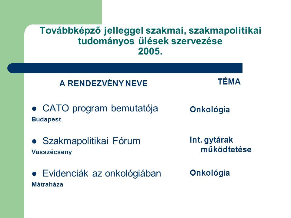 Továbbképző jelleggel szakmai, szakmapolitikai tudományos ülések szervezése 2006.