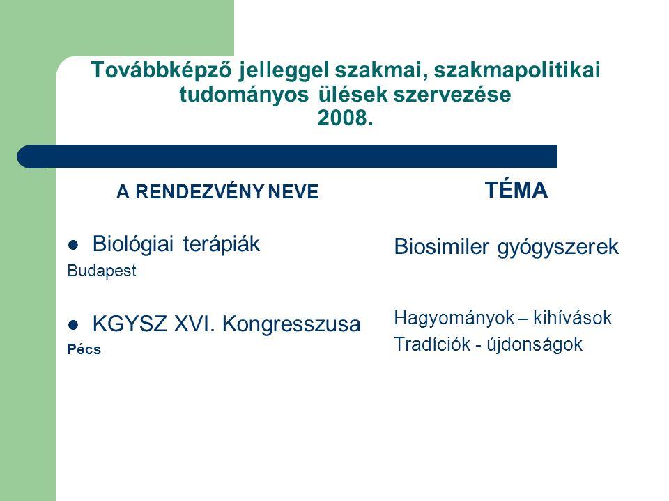 Továbbképző jelleggel szakmai, szakmapolitikai tudományos ülések szervezése 2008.