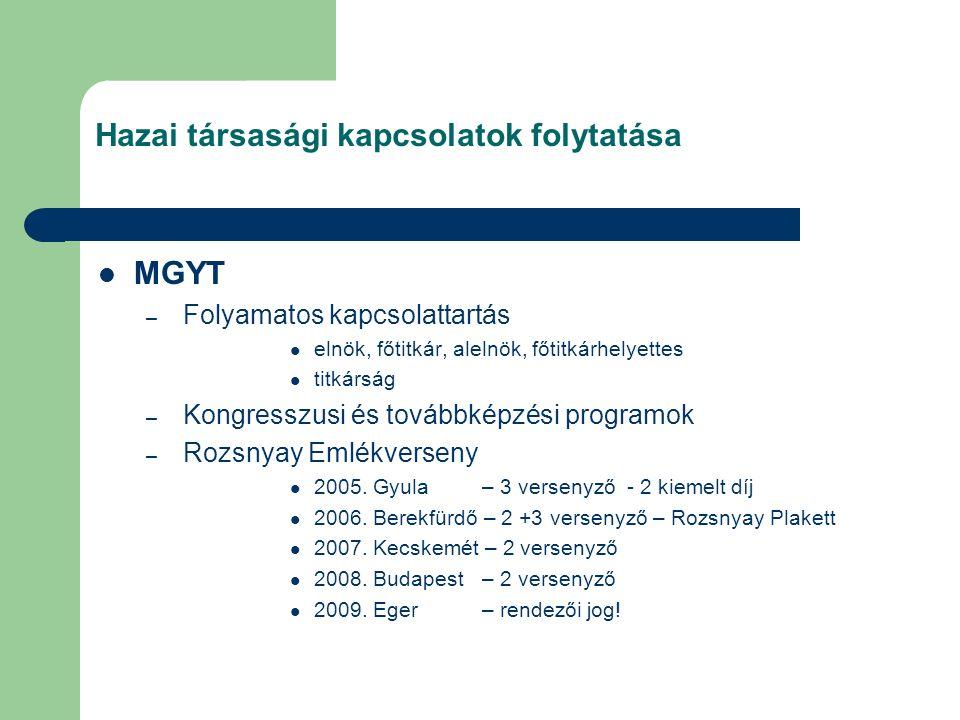 Hazai társasági kapcsolatok folytatása MGYT – Folyamatos kapcsolattartás elnök, főtitkár, alelnök, főtitkárhelyettes titkárság – Kongresszusi és továbbképzési programok – Rozsnyay Emlékverseny 2005.