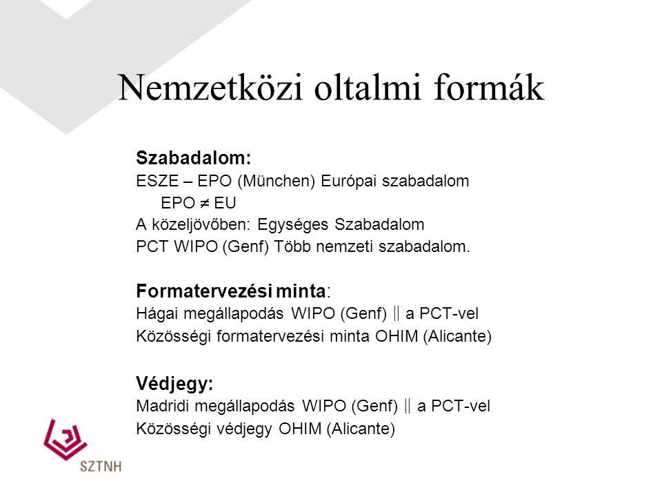 Nemzetközi oltalmi formák Szabadalom: ESZE – EPO (München) Európai szabadalom EPO  EU A közeljövőben: Egységes Szabadalom PCT WIPO (Genf) Több nemzeti szabadalom.