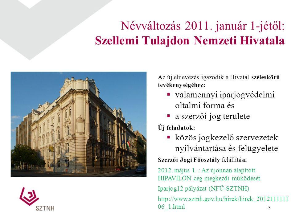 3 Névváltozás 2011. január 1-jétől: Szellemi Tulajdon Nemzeti Hivatala Az új elnevezés igazodik a Hivatal széleskörű tevékenységéhez:  valamennyi ipa