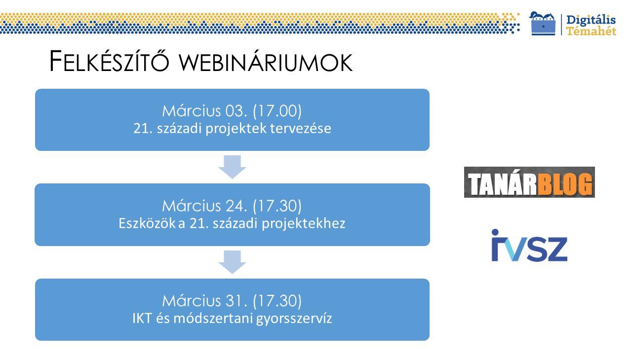 F ELKÉSZÍTŐ WEBINÁRIUMOK Március 03. (17.00) 21. századi projektek tervezése Március 24. (17.30) Eszközök a 21. századi projektekhez Március 31. (17.3